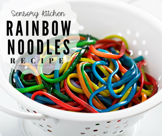 DIY Sensory Kitchen: Rainbow Spaghetti Noodles