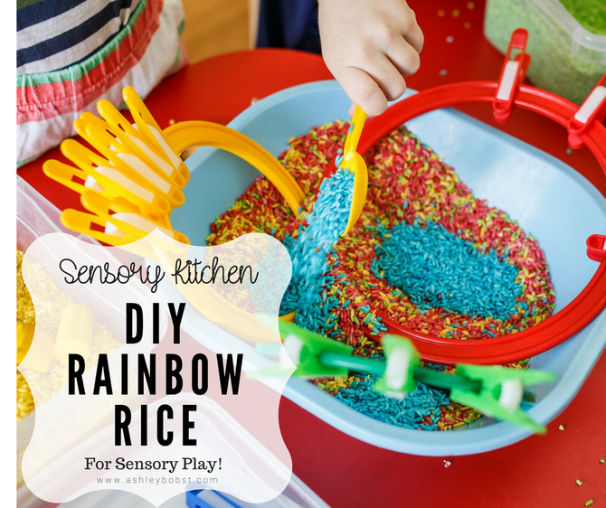 DIY Sensory Kitchen: Rainbow Rice