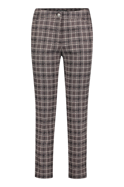 Betty Barclay - Brown plaid slim leg trousers