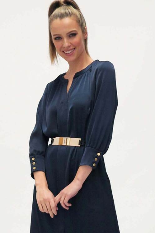 Fee'G - Navy satin dress with belt