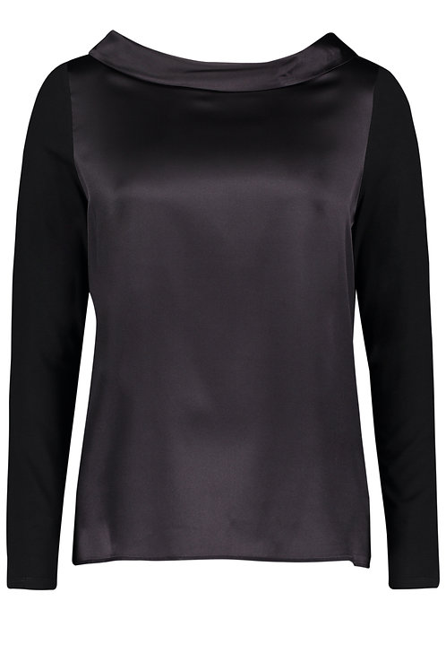 Betty Barclay - Black jersey top with satin front and cowl neck