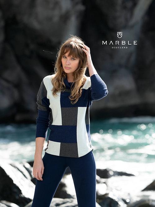 Marble -  Mink/cream/black stripe block colour cotton jumper.
