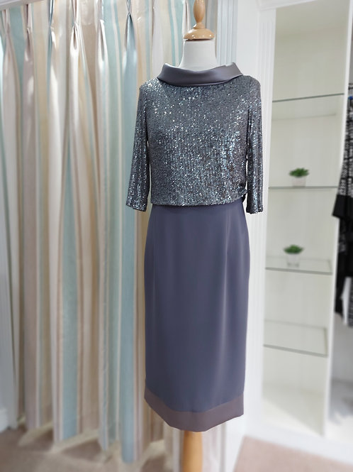 Luis Civit - Slate grey dress with sequin bodice
