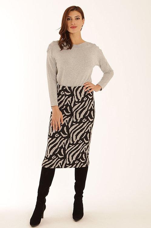 Pomodoro - Black and grey zebra design pencil skirt