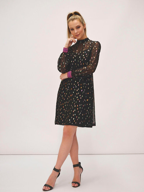 Fee'G -Black chiffon tunic dress with metallic spot design.
