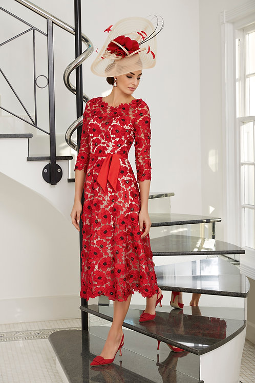 Veni Infantino -  Red poppy gupuire embroidered A line dress