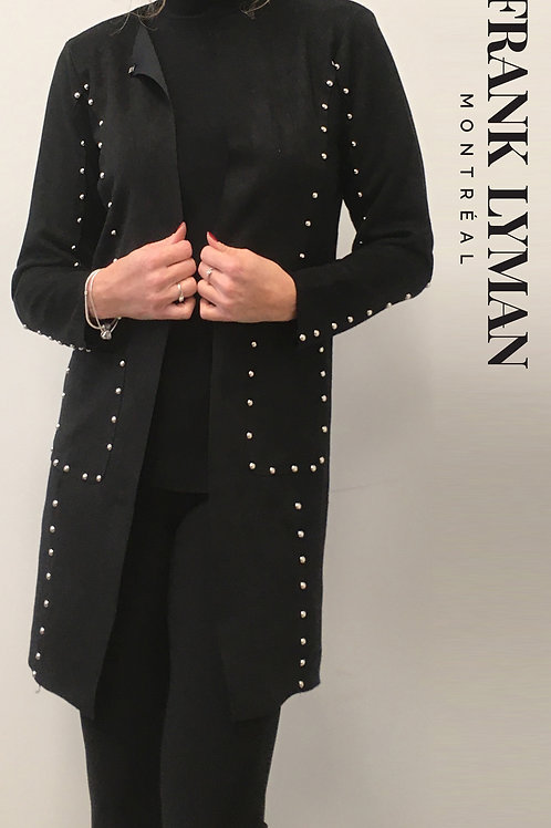 Frank  Lyman - Black knit and faux suede studded jacket