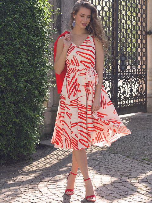 Michaela Louisa - Floaty dress with red and white print