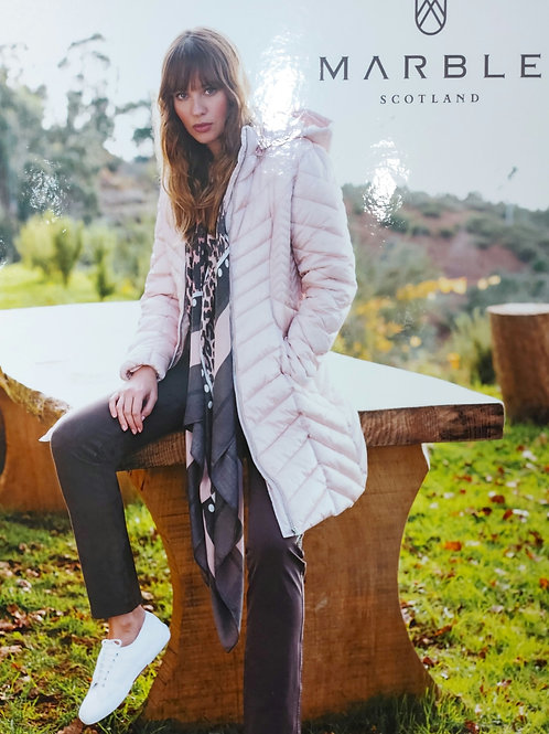 Marble -  Powder pink long line Puffa Coat