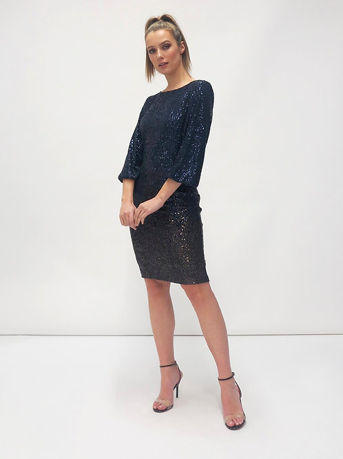 Fee'G - Midnight blue sequin dress with cowl back