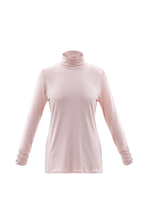Marble -  Pink long sleeve t-shirt top with polo neck