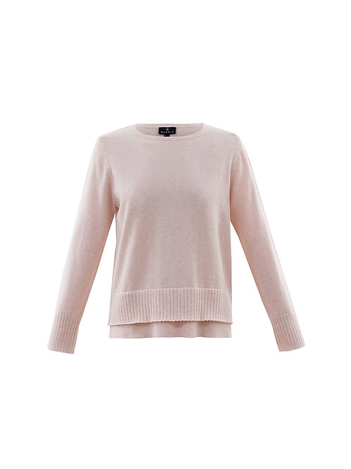 Marble -  Cotton pink  jumper with separate cowl neck.