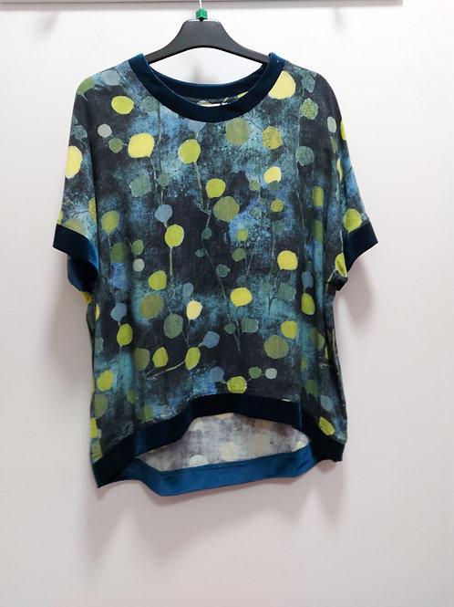 Foil - Multicoloured spot print top with velvet trim