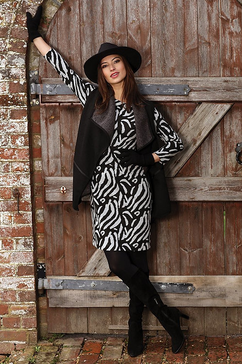 Pomodoro - Black and grey fitted dress