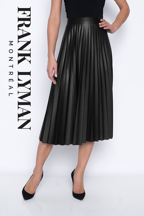 Frank Lyman - Faux leather pleated skirt