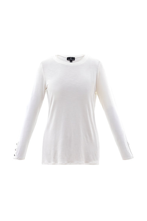 Marble -  Ivory long sleeve t-shirt top with round neck