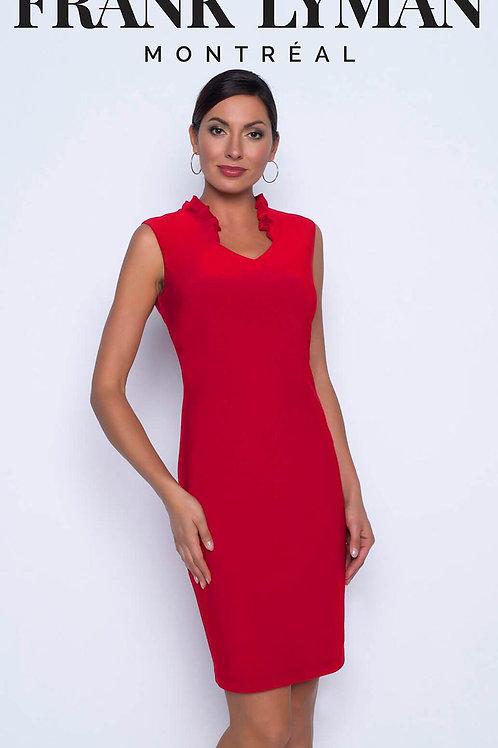 Frank Lyman - Fushia stretch Jersey dress with frill stand up collar