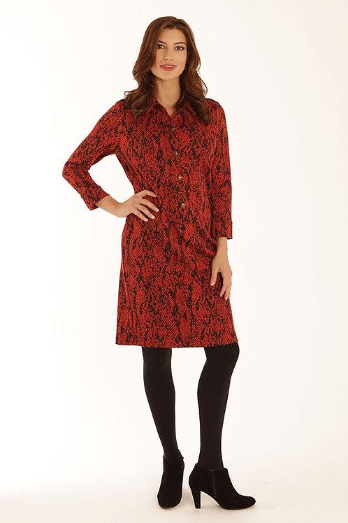 Pomodoro - Black and rusty red snake dress