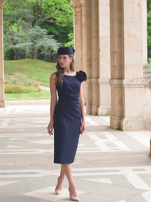Michaela Louisa - Navy dress with ivory piping