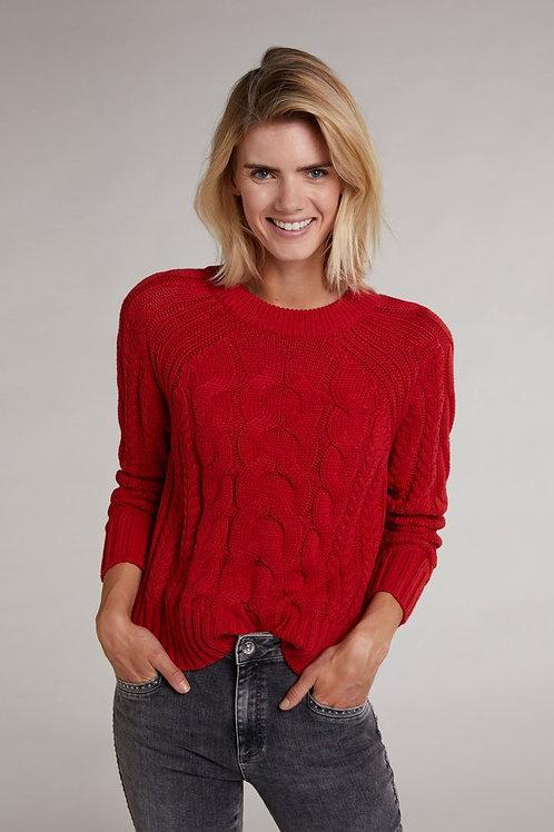 Oui - Orange cable knit jumper