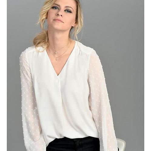 Tinta - white blouse with sheer textured sleeve
