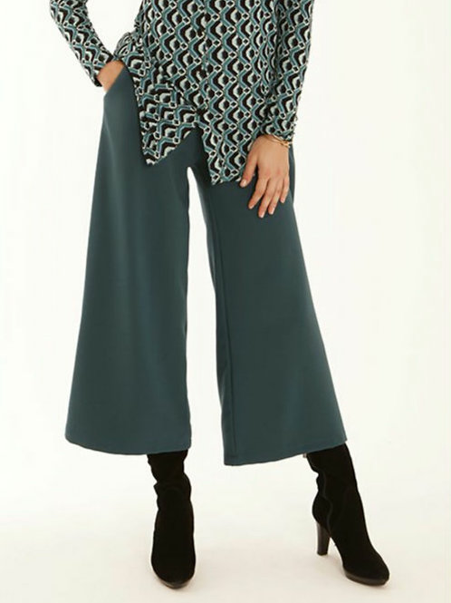Pomodoro - Teal tailored wide leg cropped trousers
