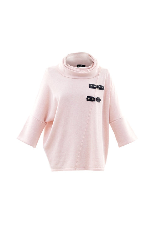 Marble -  Cotton pink jumper with leather buckle detail