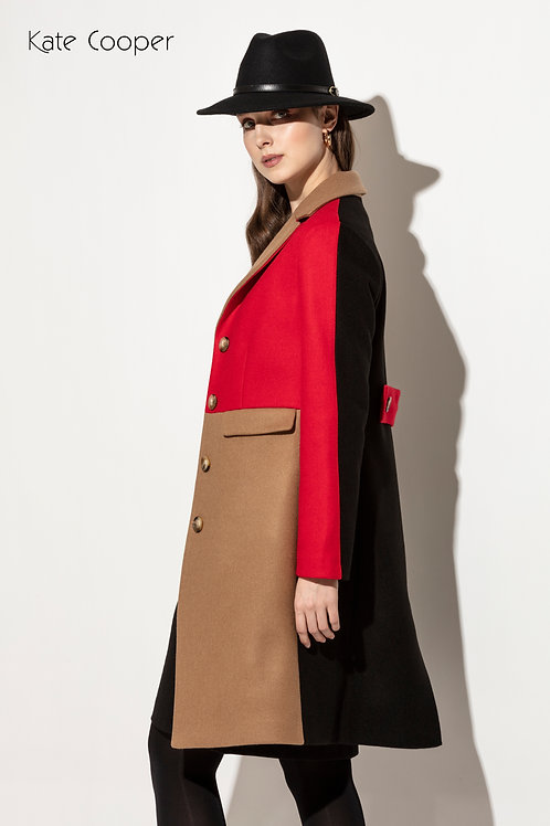 Kate Cooper - Wool 3/4 length coat with block colours.