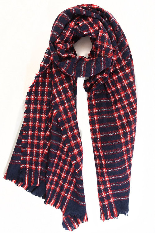 MSH - Navy with red check warm scarf
