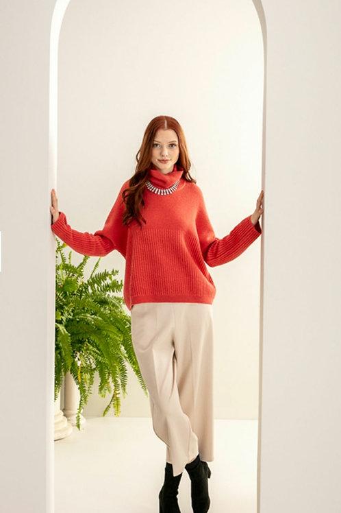 Maria Bellentani - Coral knitted roll neck jumper