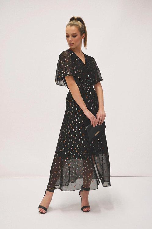 Fee'G -Black chiffon dress with metallic spot design.