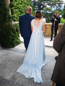 Lara in her blue Lara B Couture commissi