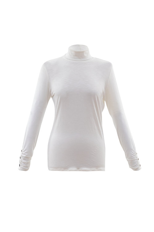 Marble -  Ivory long sleeve t-shirt top with polo neck