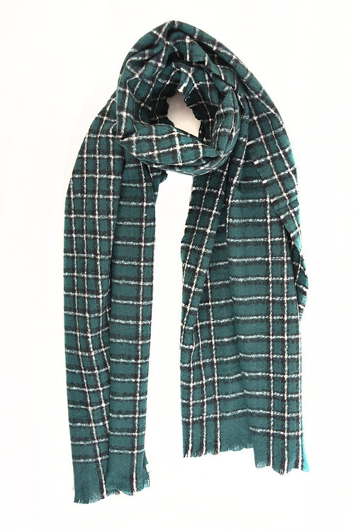 MSH - Forest Green with white check warm scarf