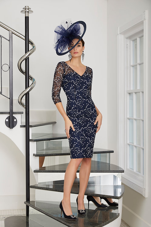 Veni Infantino -  Navy fitted embroidered dress