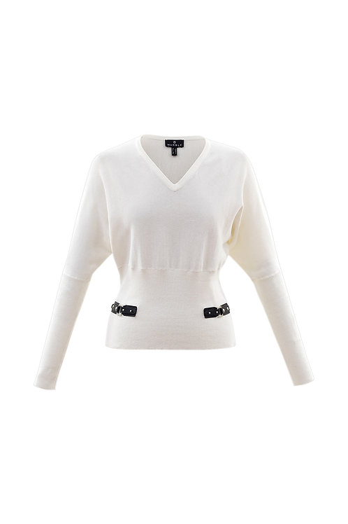 Marble -  Cream cotton jumper with leather buckle detail