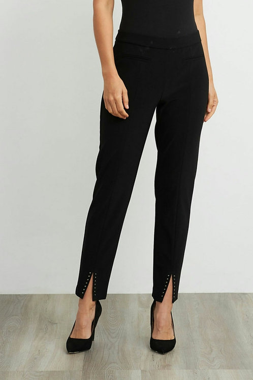 Joseph Ribkoff black slim fit pull on trousers with front split detail