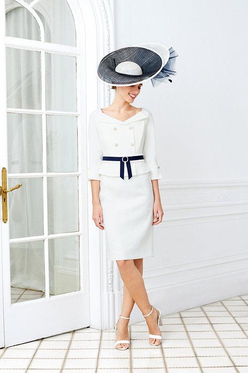 Luis civit - Dress in ivory brocade and navy trim