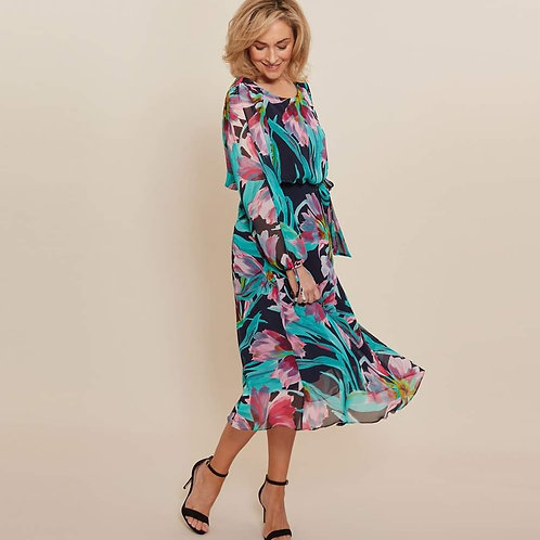 Gina Bicconi - Multi floral chiffon dress.