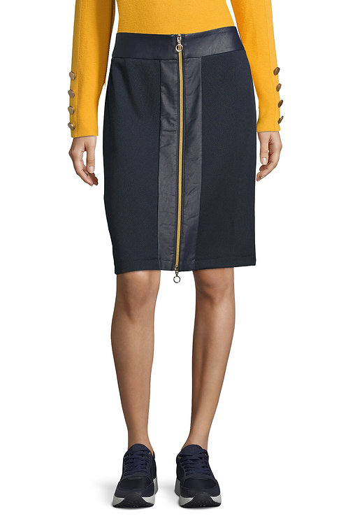 Betty Barclay - Navy zip front skirt with faux leather panel