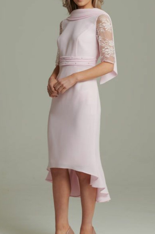 Gabriela Sanchez - Crepe fitted dress with lace sleeves and back collar