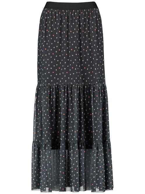 Taifun - Sheer skirt with maxi tier and spot print