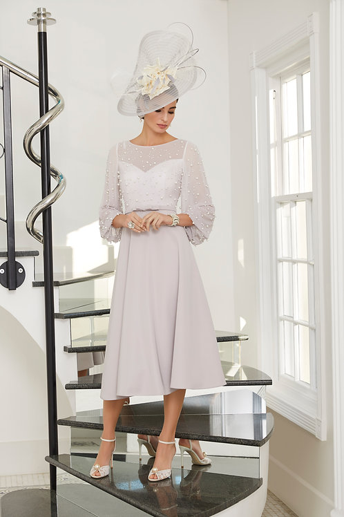 Veni Infantino -  Taupe A line dress with pearl chiffon sleeves