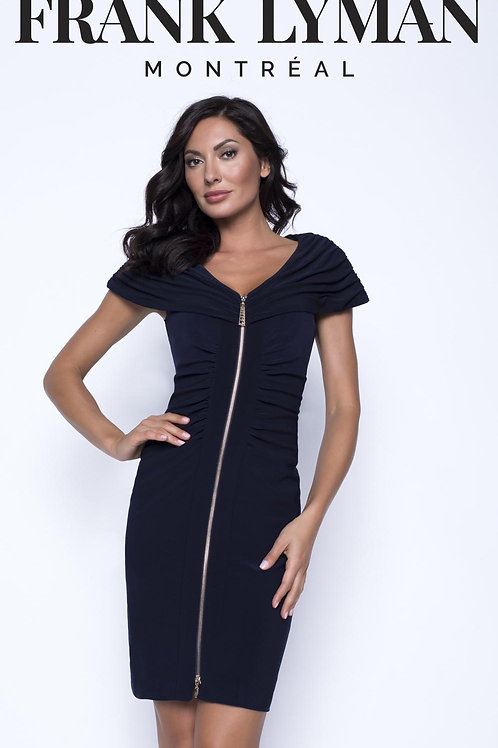 Frank Lyman - Black stretch Jersey dress with zip front and collar