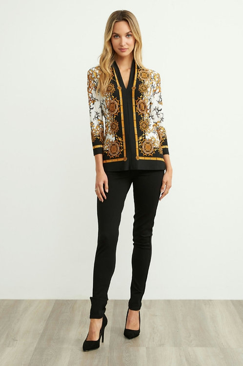 Joseph Ribkoff - Gold/ Black printed tunic top