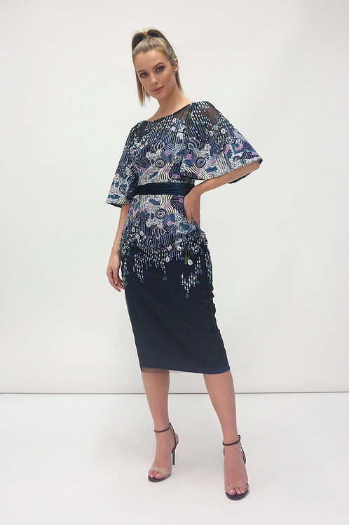 Fee'G -Navy tulle and jersey dress with heavy sequin and beading