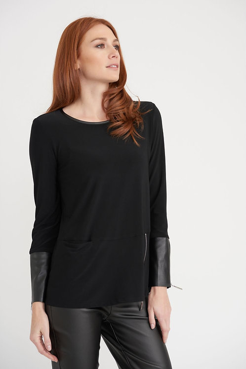 Joseph Ribkoff - Black and faux leather oversized top
