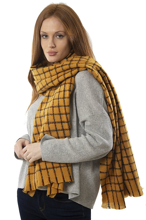 MSH - Mustard with black check warm scarf