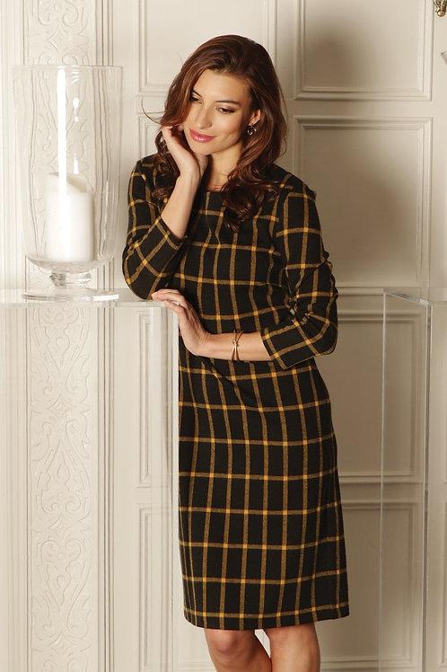 Pomodoro - Black and gold check dress