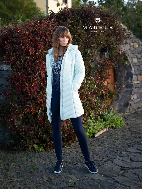 Marble -  Cream  long line Puffa Coat